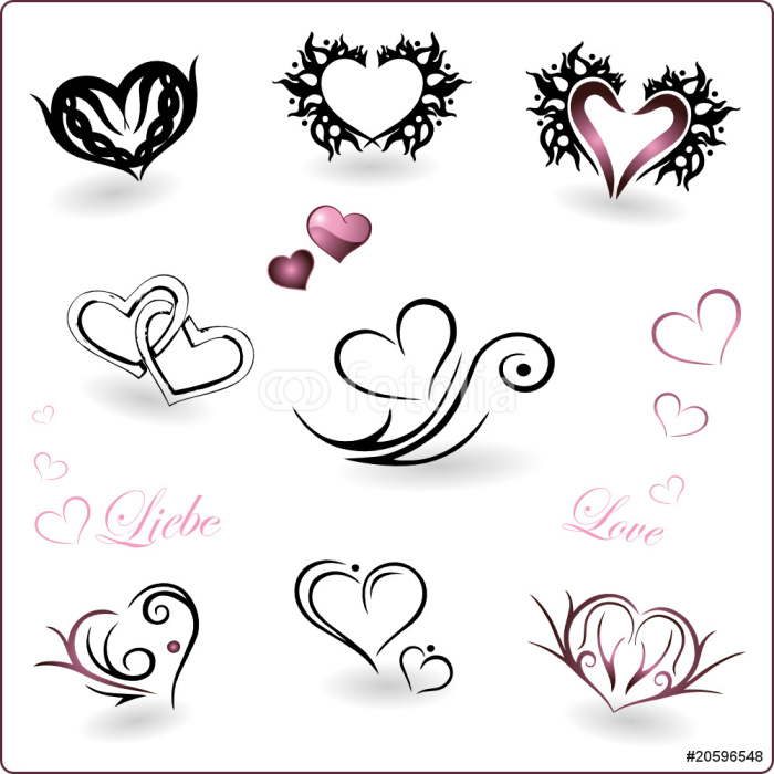 Valentinstag, Herz, Herzen, Liebe, Vektor Set, love Wall Mural ...