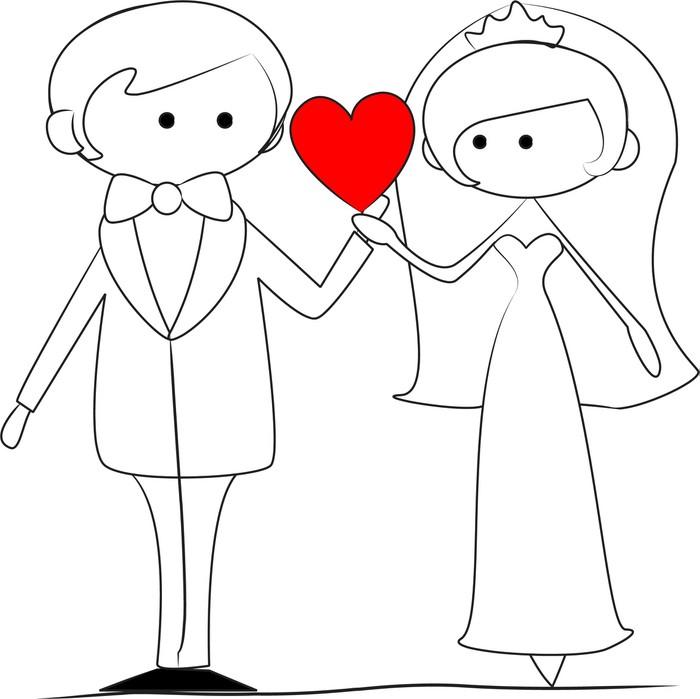 Легкий рисунок жениха и невесты