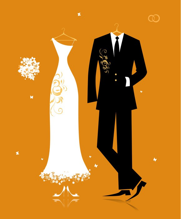Рисованное свадебные костюмы
