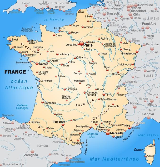 Fotobehang Kaart Van Frankrijk Met De Buurlanden In Oranje  E  A Pixers We Leven Om Te Veranderen