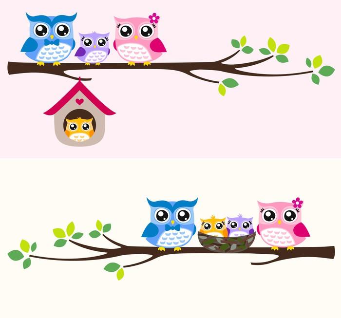 Cartoon owls on a branch
