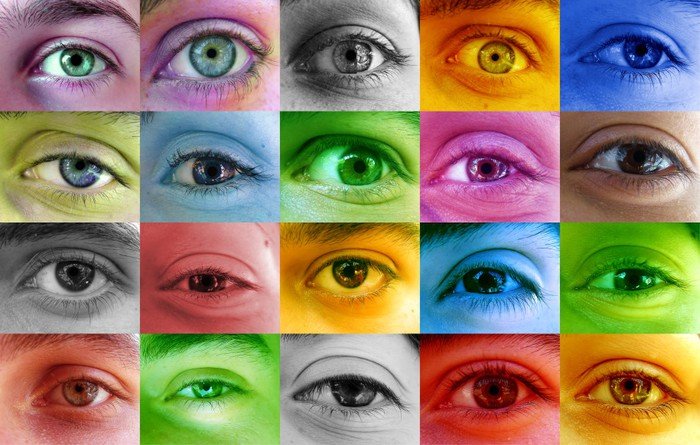 Humans with different colored eyes