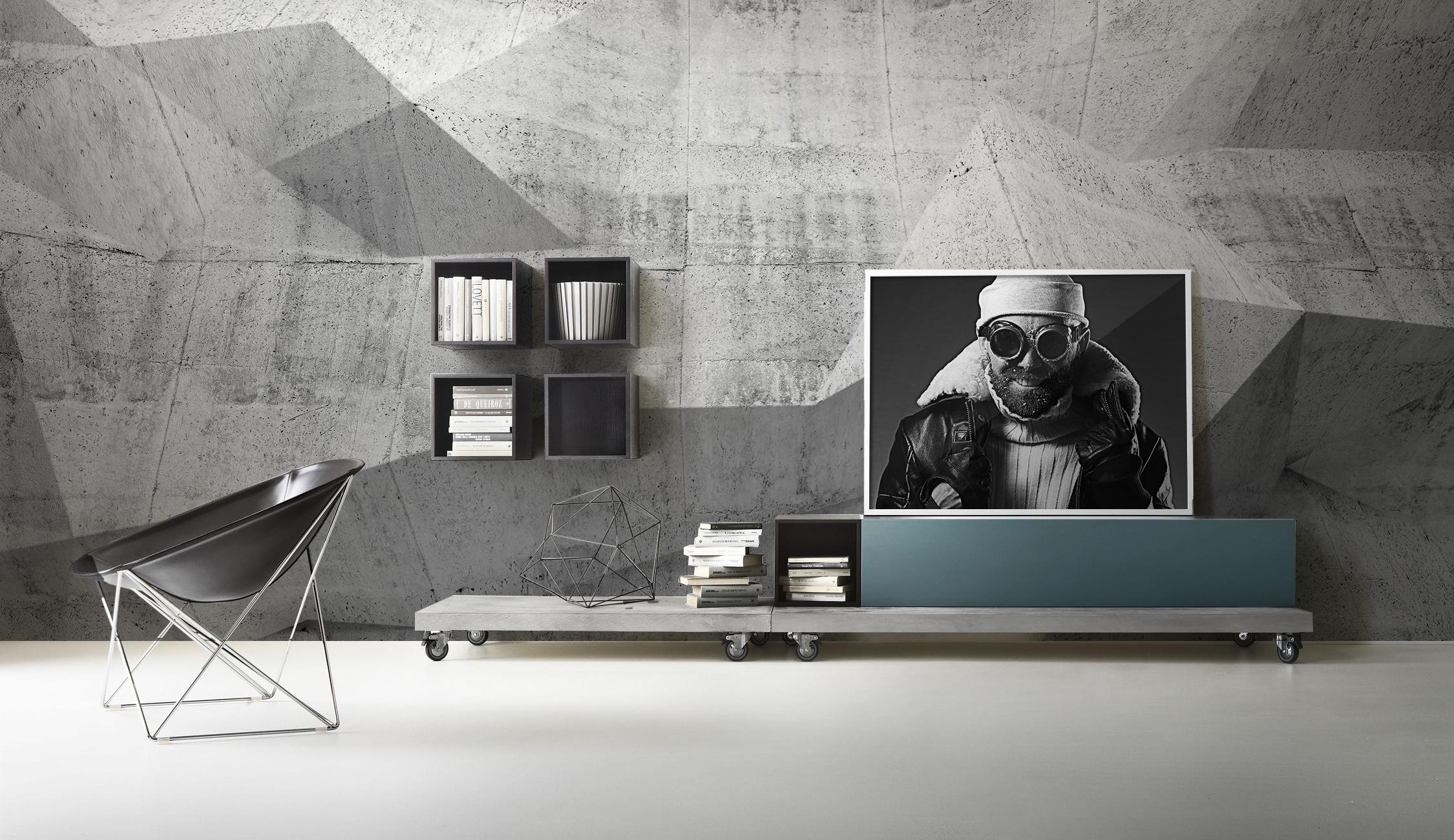 Fototapete Abstrakter 3D-Raum aus dunklem Beton • Pixers® - Wir ...