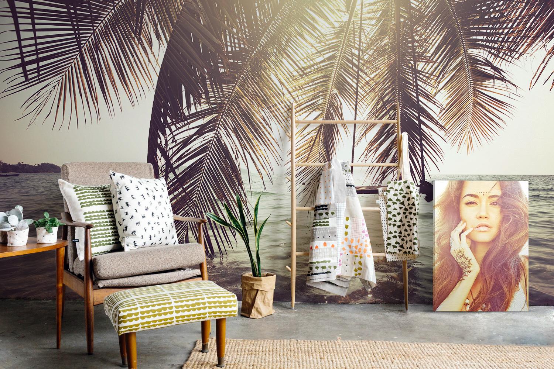 Revestimiento mural de playa y palmeras Pixers