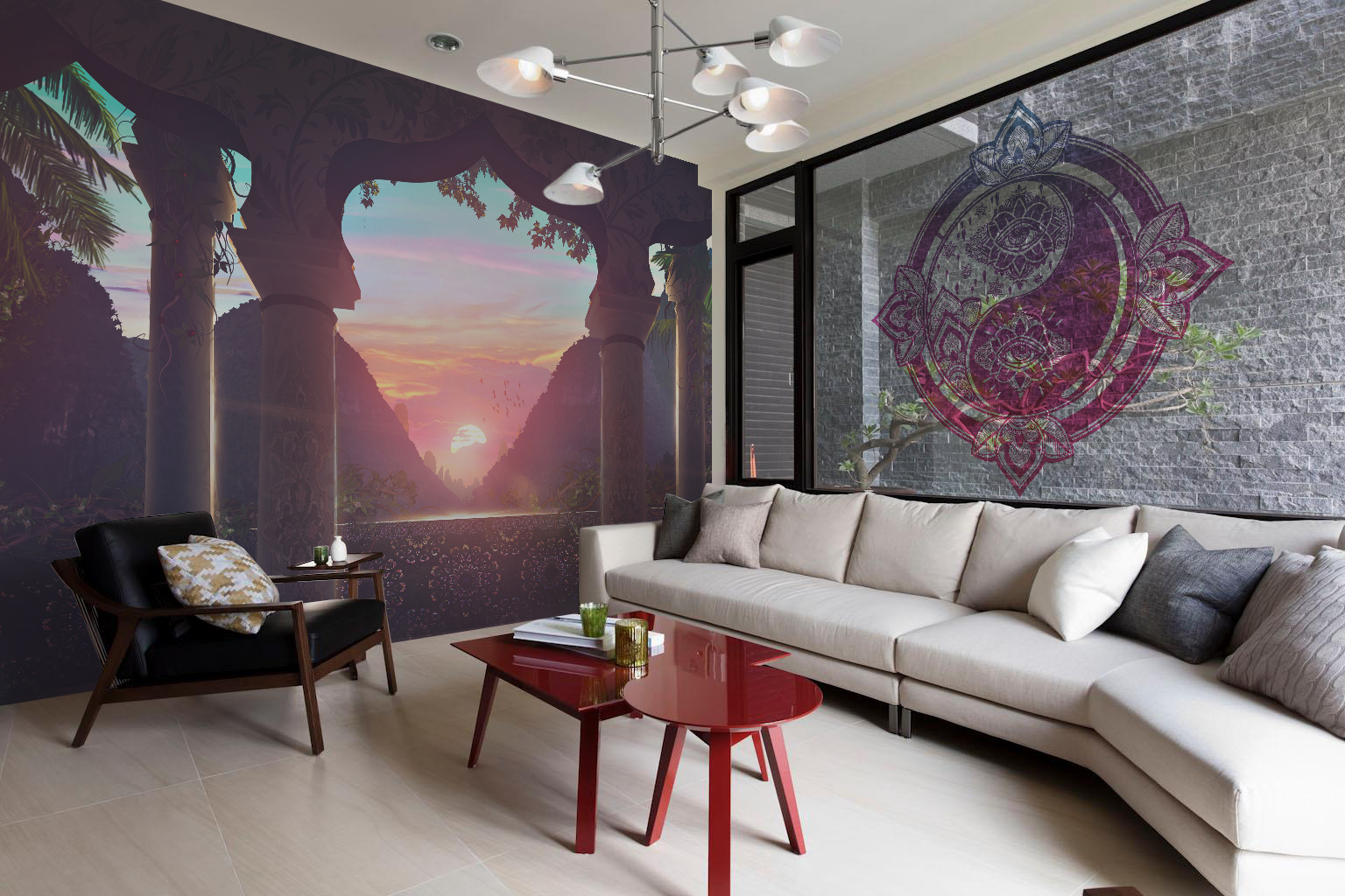 Yin yang living room oriental architecture and for Meuble mural yin yang