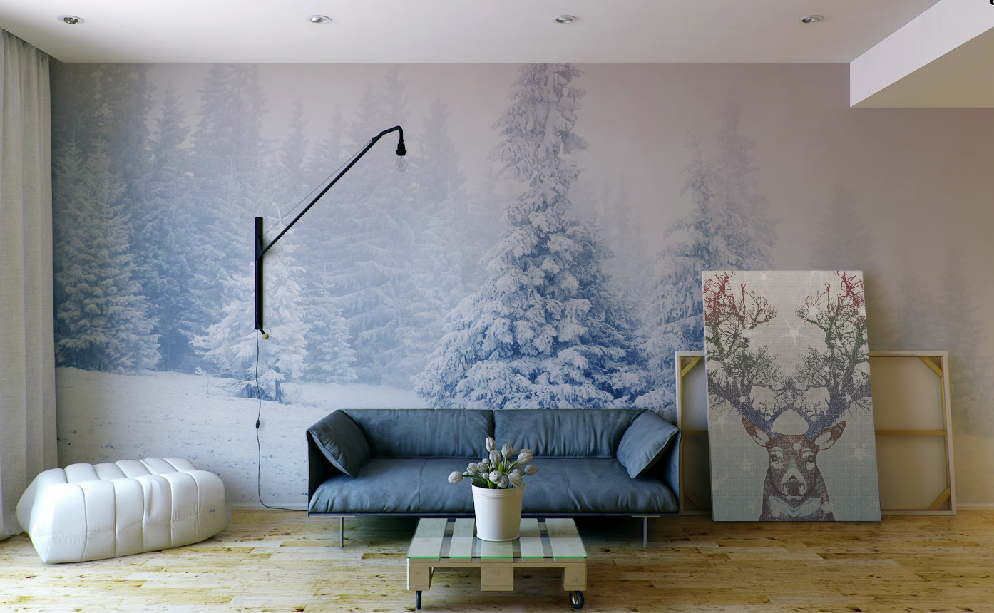 Frozen Antlers • Living room - Minimalist - Wall Murals - Prints - Animals - Flowers and plants - Landscapes