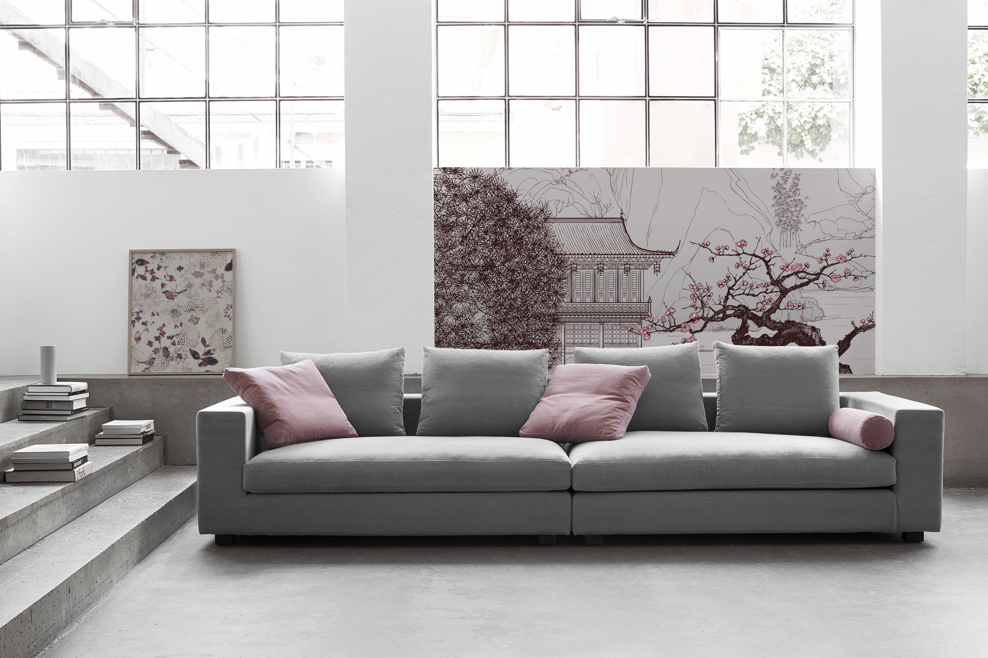 Chinese Cherry • Living room - Oriental - Flowers and plants - Landscapes - Wall Murals - Posters