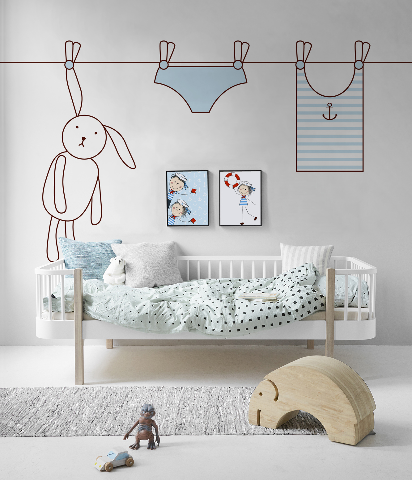 Dream Sailor Scandinavian Kids room Wall Murals Posters