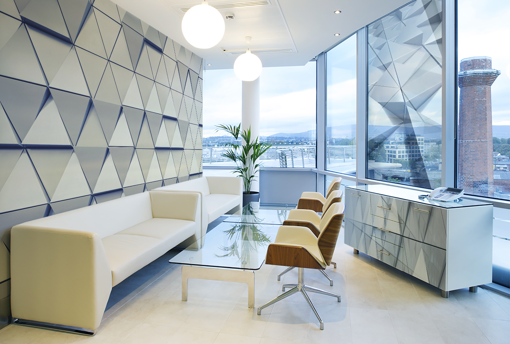 Triangoli tridimensionali futuristico per soggiorno for Parati tridimensionali