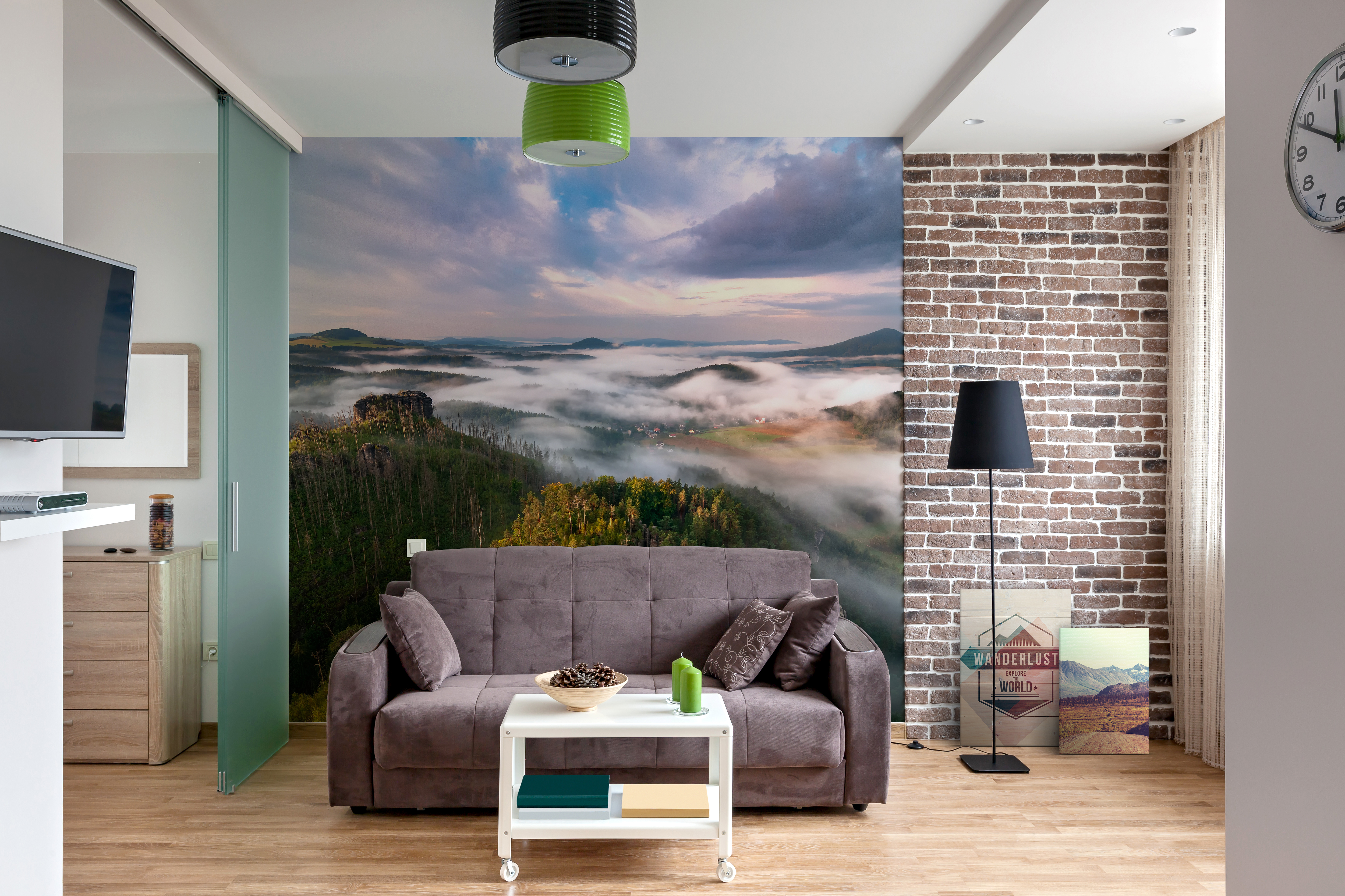 explore the world living room contemporary wall murals prints landscapes pixers. Black Bedroom Furniture Sets. Home Design Ideas