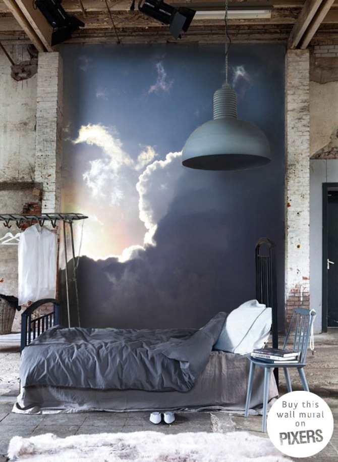 Clouds industrial bedroom pixers we live to change for Clouds wall mural