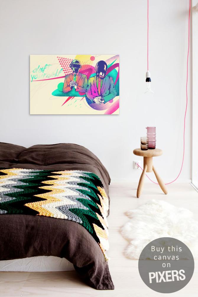 Daft punk scandinavian bedroom pixers we live to for Daft punk mural