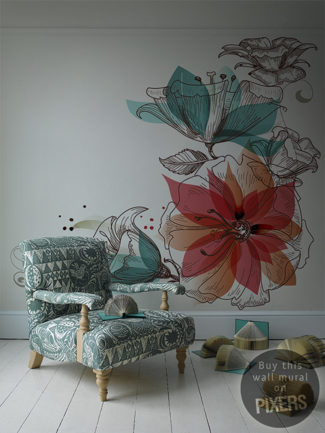 Flowers Retro Living Room Pixers We Live To Change