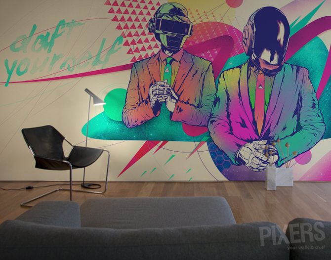 harder better faster stronger living room contemporary ForDaft Punk Mural