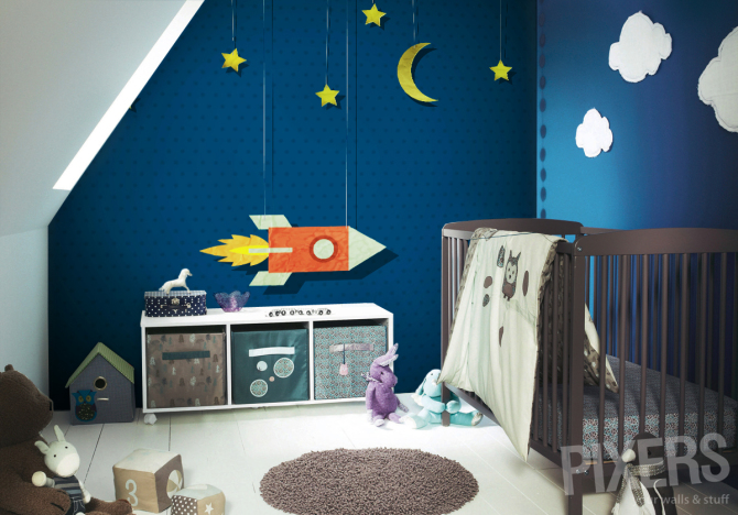 Washable Wall Mural Vintage Rocket In Space