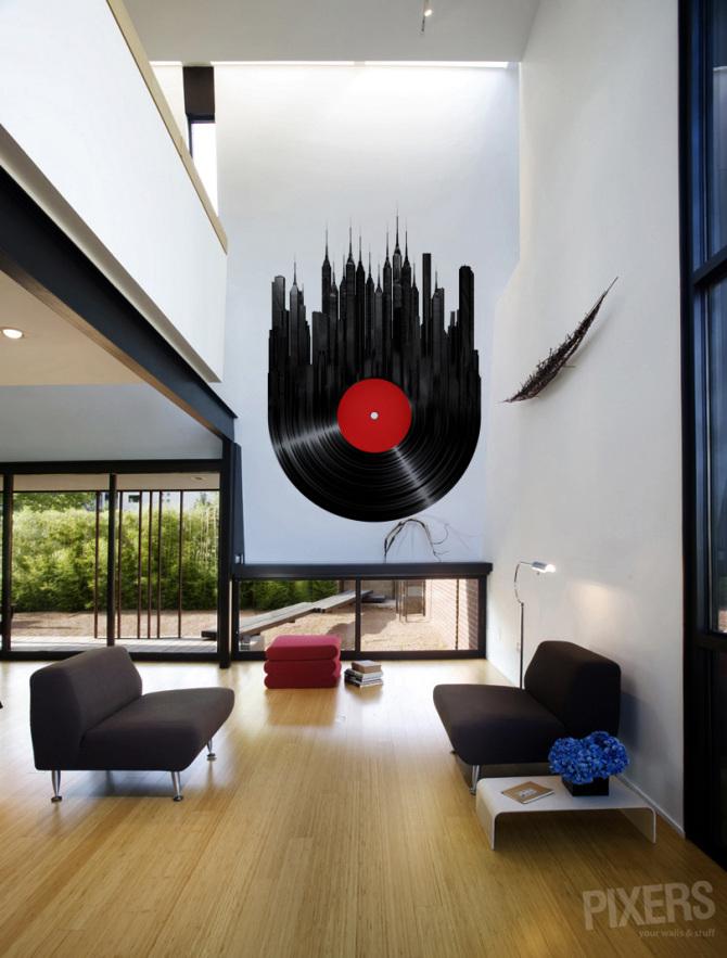 Stadt vinyl minimalistisch wohnzimmer pixers wir for Wohnzimmer minimalistisch