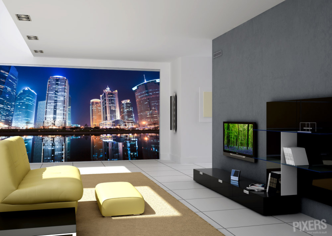 City lights living room contemporary pixers we for City lights mural