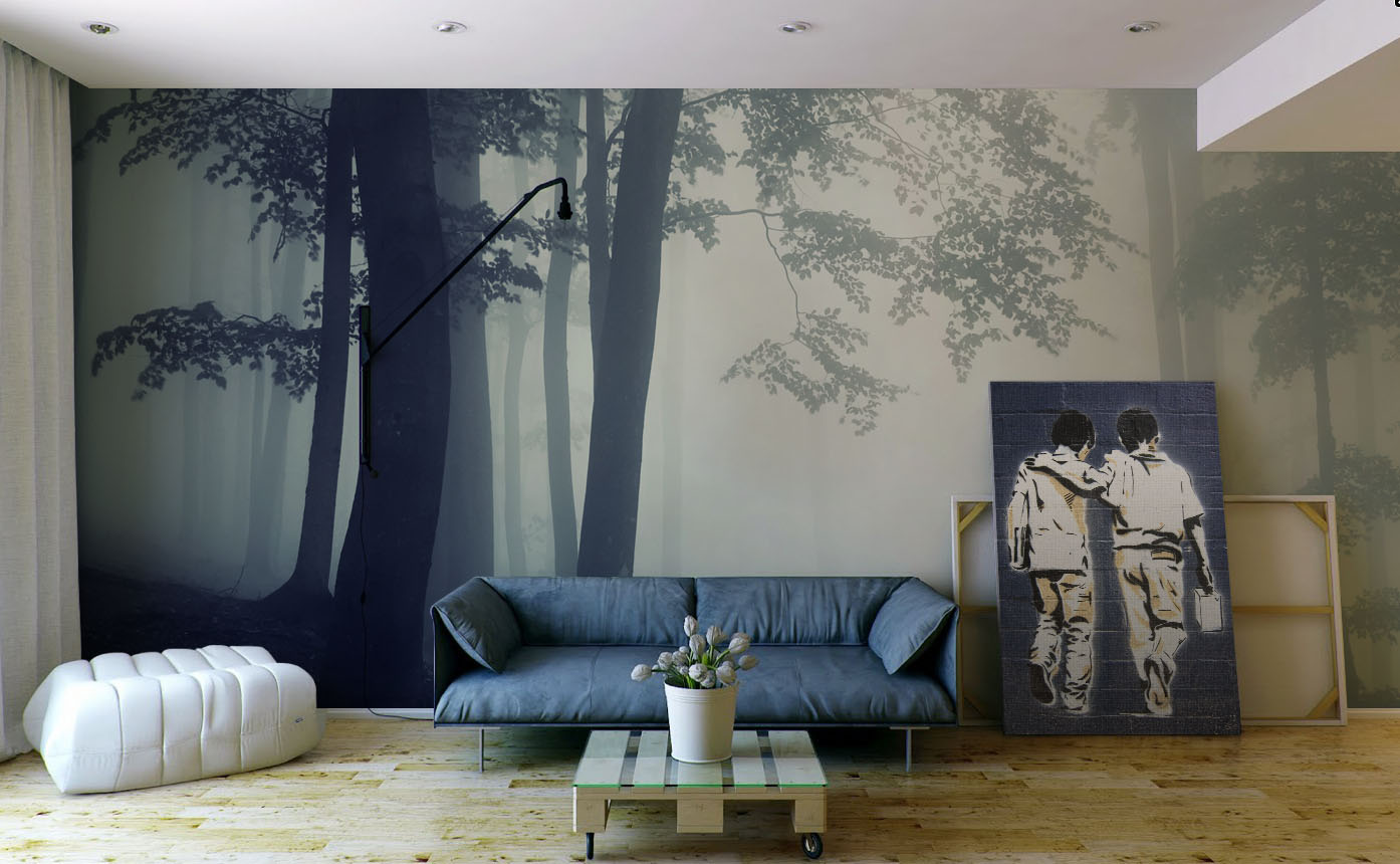 Journey to School • Scandinavian - Living room - Wall Murals - Prints - People - Flowers and plants - Landscapes - Black and white
