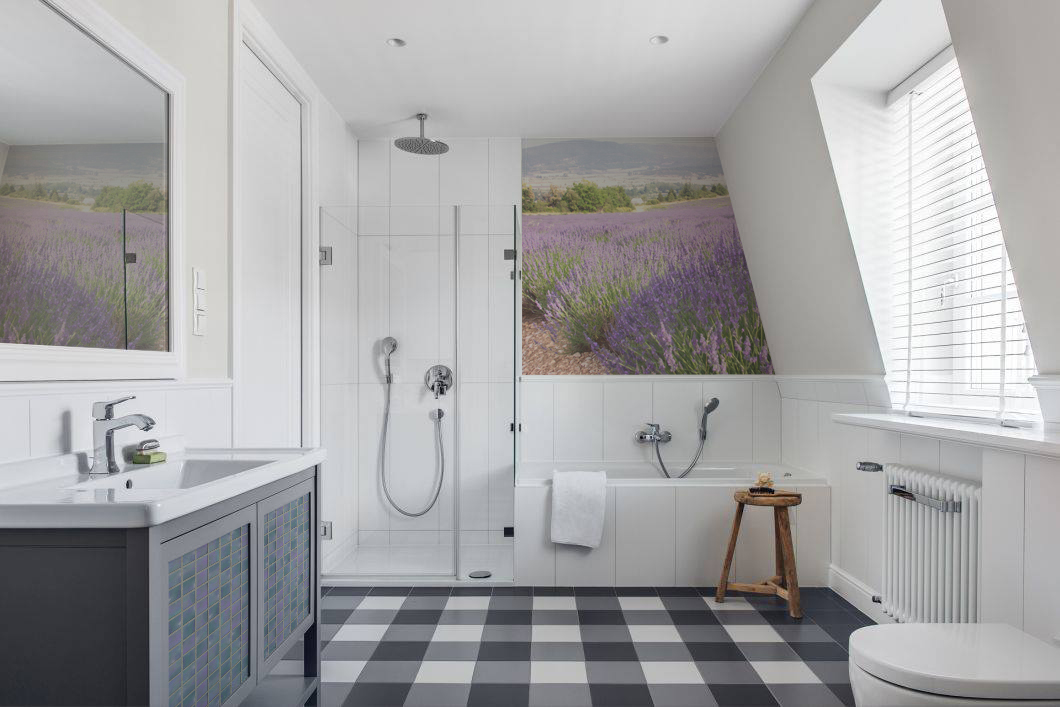 Time To Lavender • Bathroom - Scandinavian - Wall Murals - Stickers - Textures and patterns - Landscapes
