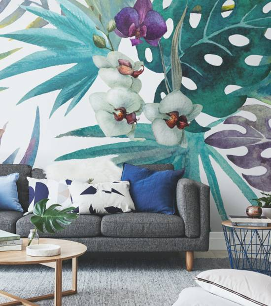 Wall Mural Living Room - pattern orchid hibiscus leaves watercolor tropics