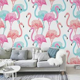 Wall Mural Living Room - flamingo watercolor pattern
