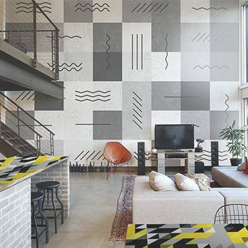 Wall Mural & Sticker - Industrial Living Room