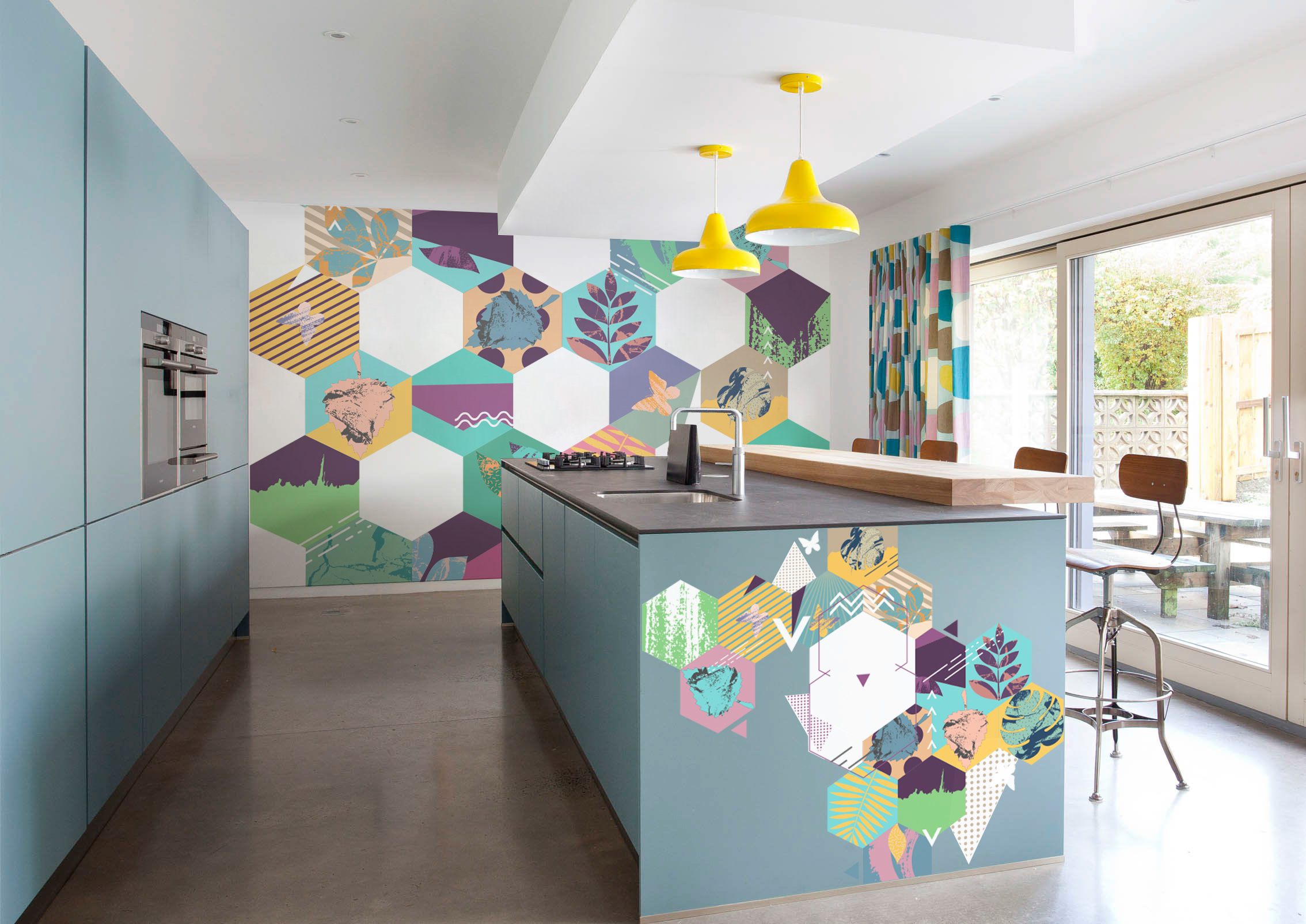 Geometric kitchen • Living room - Contemporary - Abstraction - Stickers