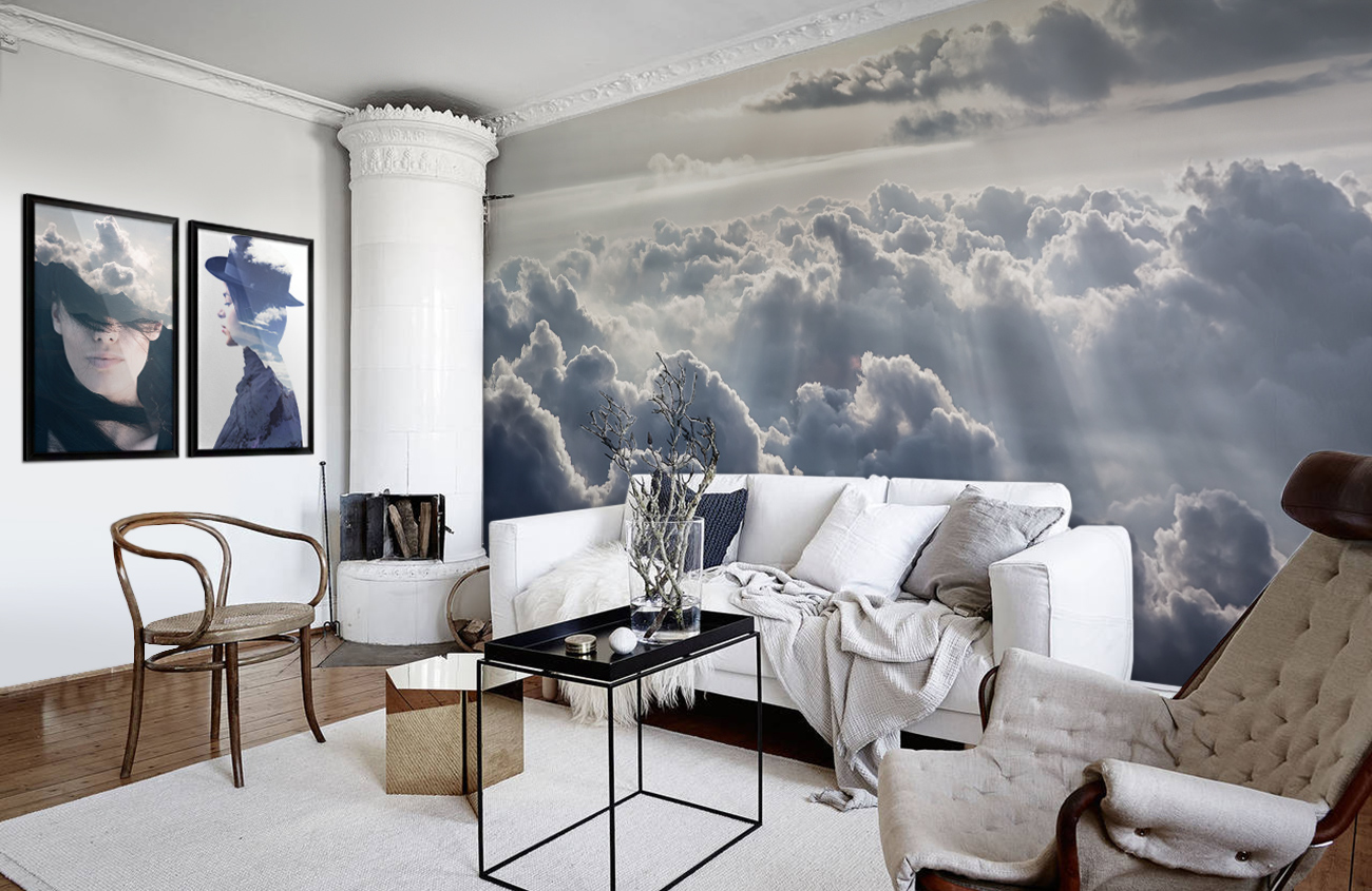 Clouds in the sky scandinavian living room wall for Clouds wall mural