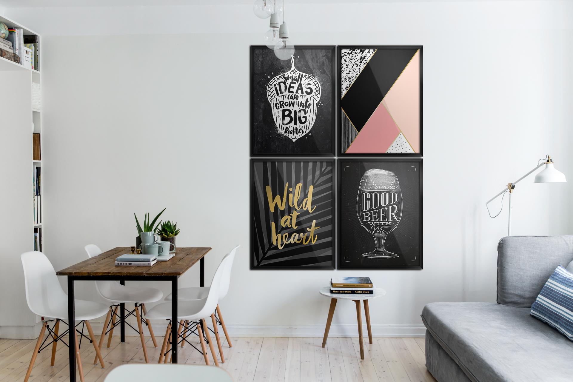 typografische poster skandinavisch wohnzimmer poster schwarz wei kunst und lifestyle. Black Bedroom Furniture Sets. Home Design Ideas