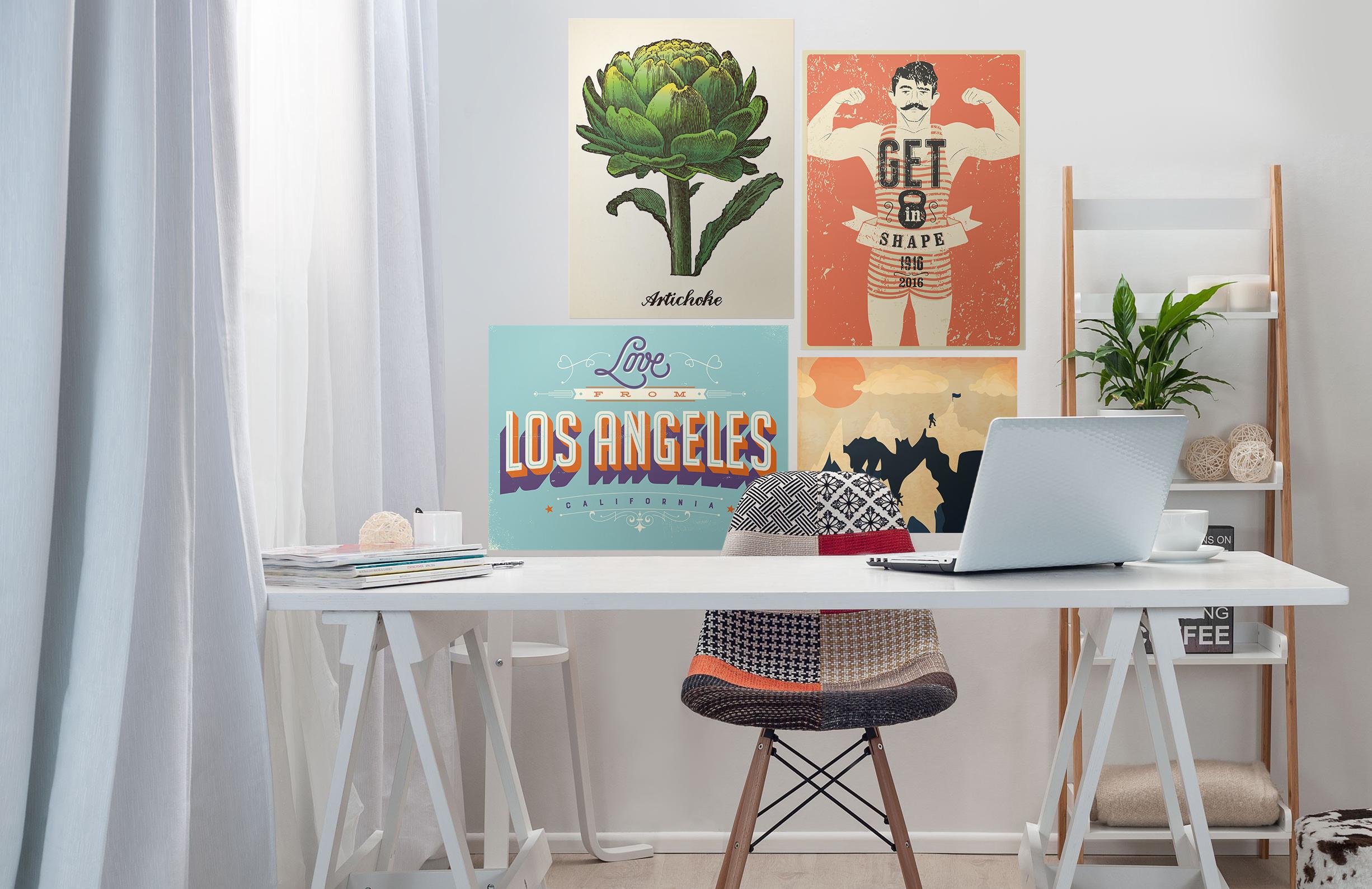 retro poster skandinavisch b ro kunst und lifestyle. Black Bedroom Furniture Sets. Home Design Ideas