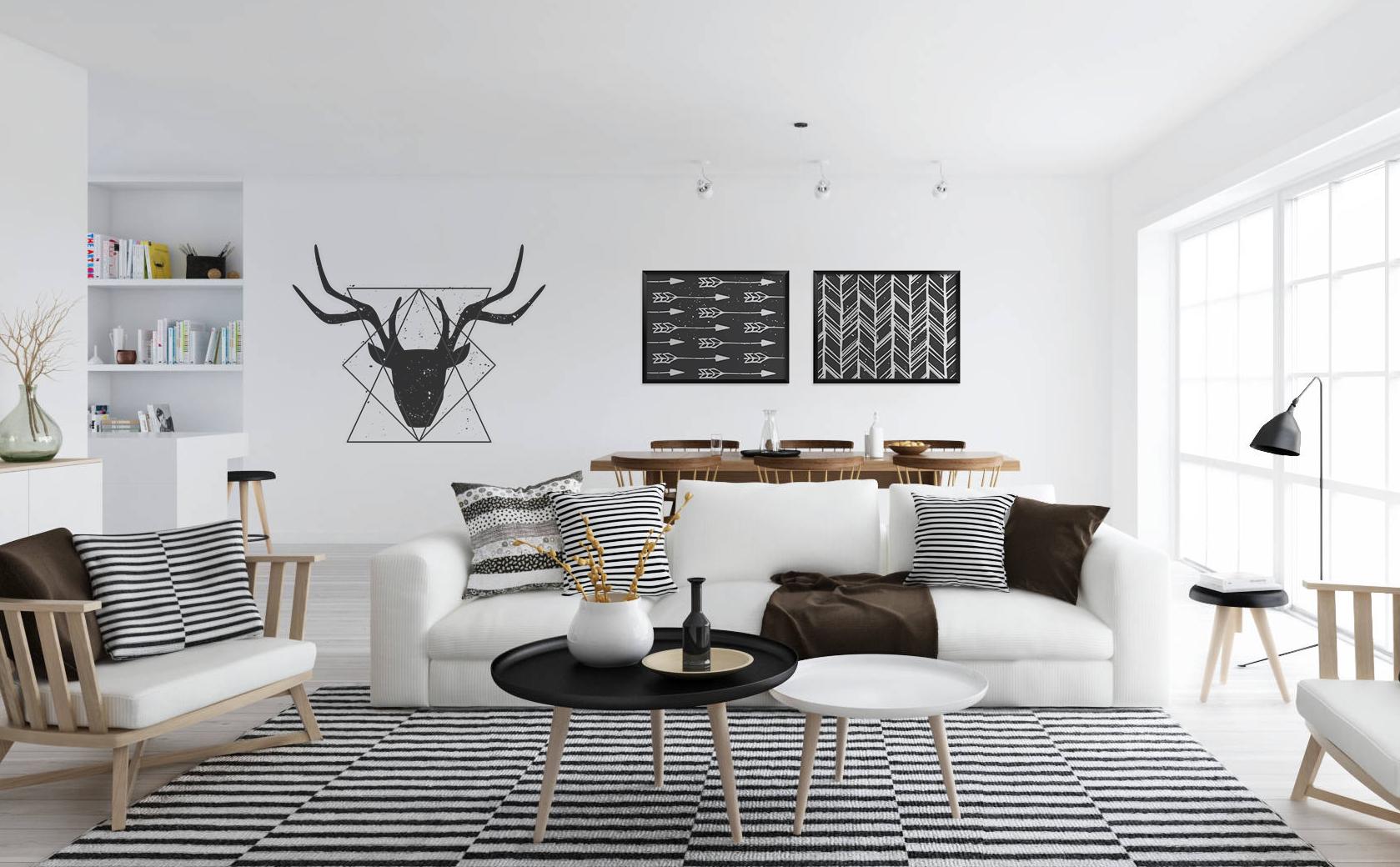 Scandinavian Blick Skandinavisch Wohnzimmer Poster Aufkleber