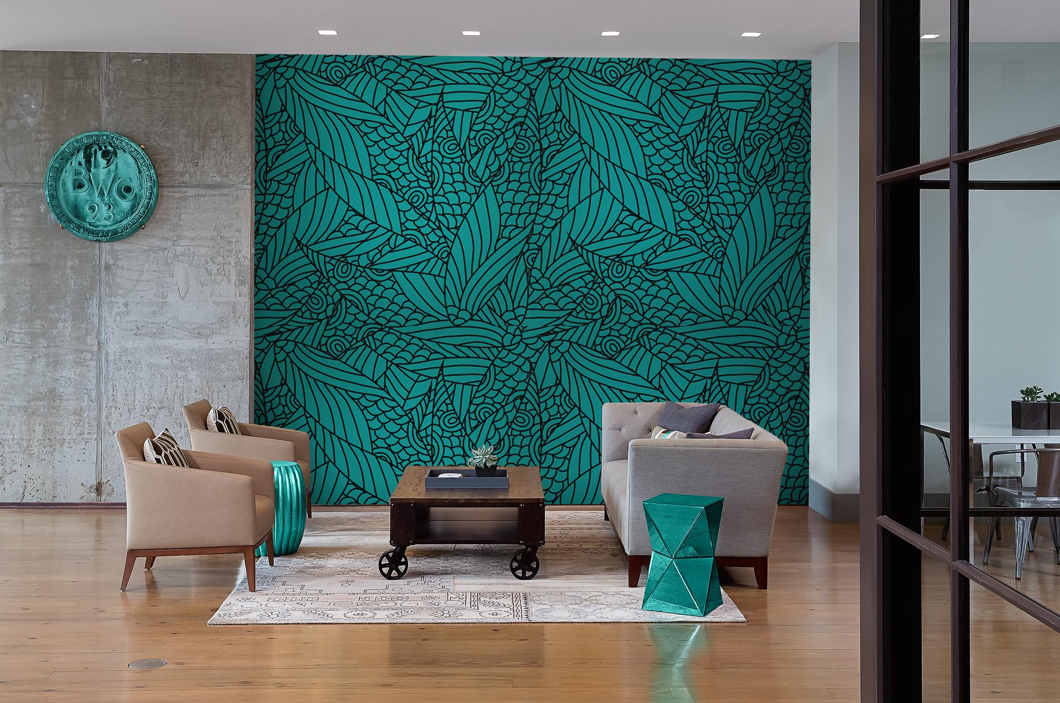 verte sous marine vintage pour salon papiers peints fleurs et plantes noir et blanc. Black Bedroom Furniture Sets. Home Design Ideas