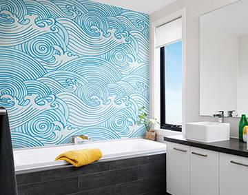 Merveilleux Graphic Waves   Wall Mural For The Bathroom