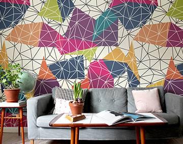 geometric 3d patterns wall mural