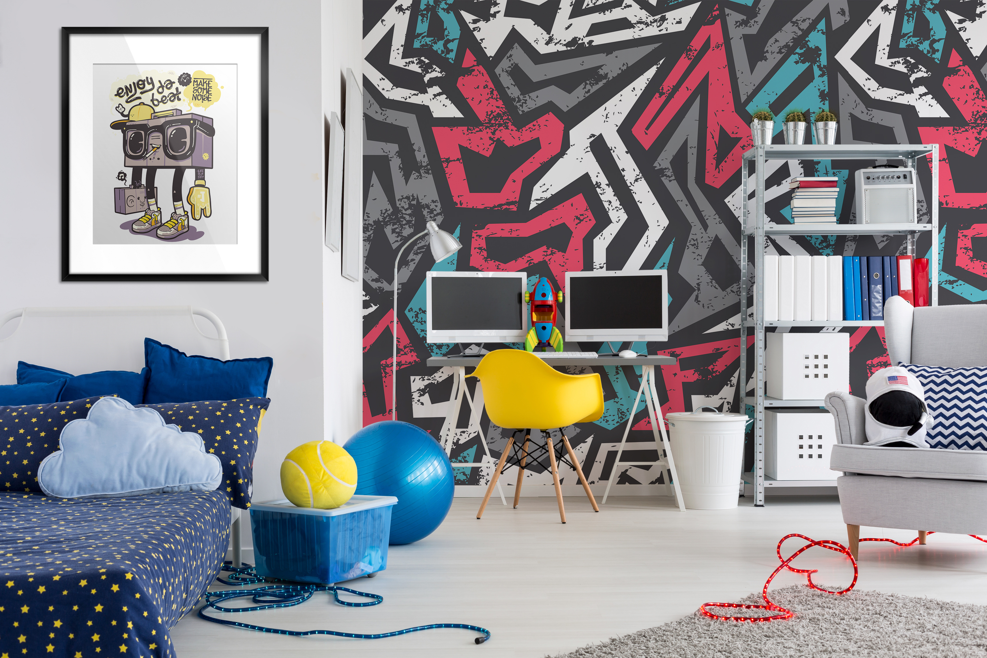 Cosmic Graffiti Contemporary Kids room Wall Murals Posters