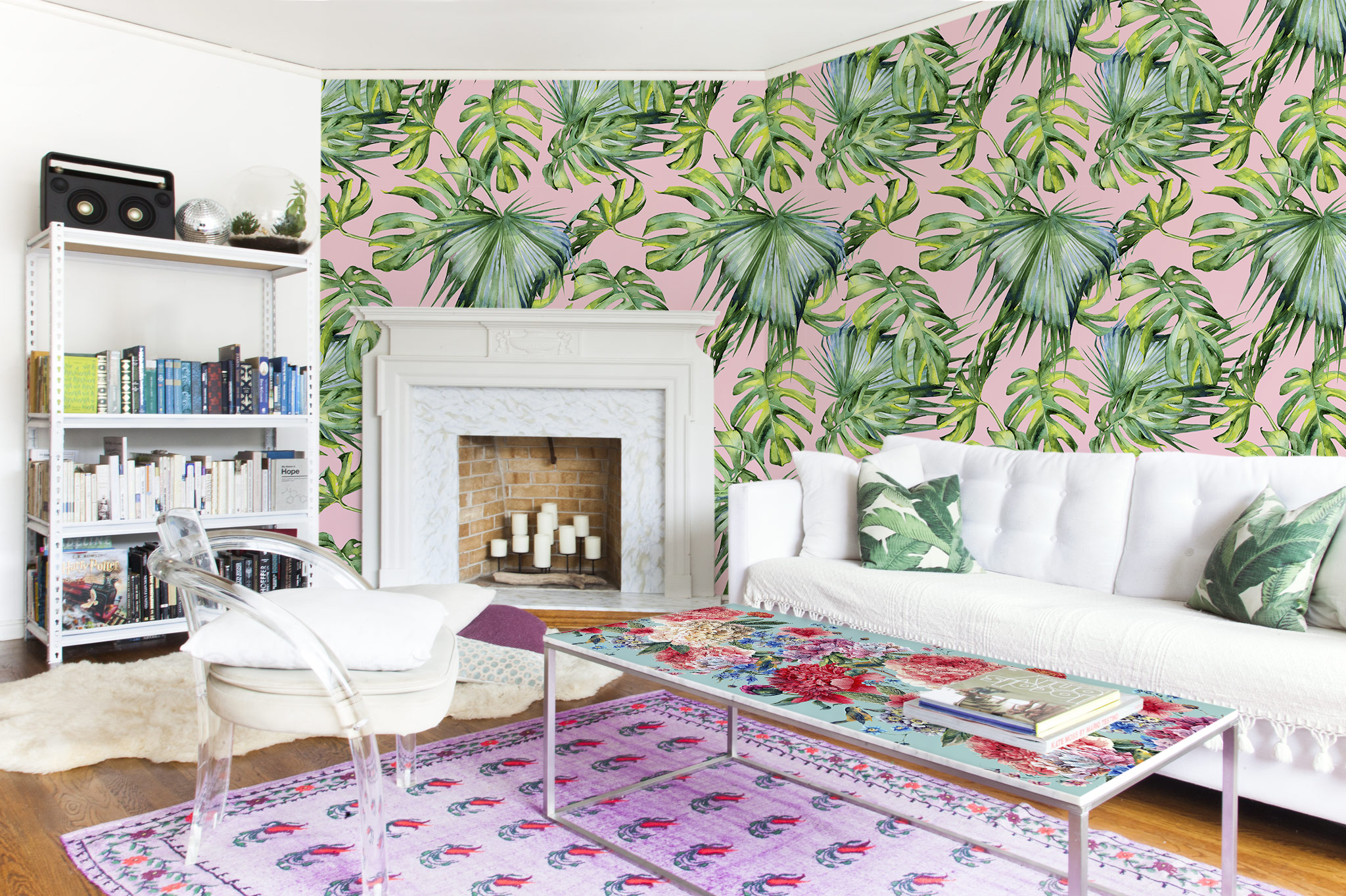 Pink Jungle Living Room Shabby Chic Wall Murals Stickers Flowers And Plants Pixers We Live To Change