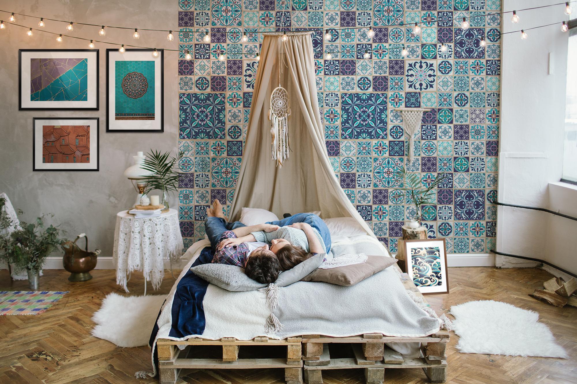Orientalische Ruhe • Boho - Orientalisch - Schlafzimmer - Fototapeten -  Poster - Kunst und Lifestyle - Textur und Dessin • Pixers® - Wir leben, um  zu