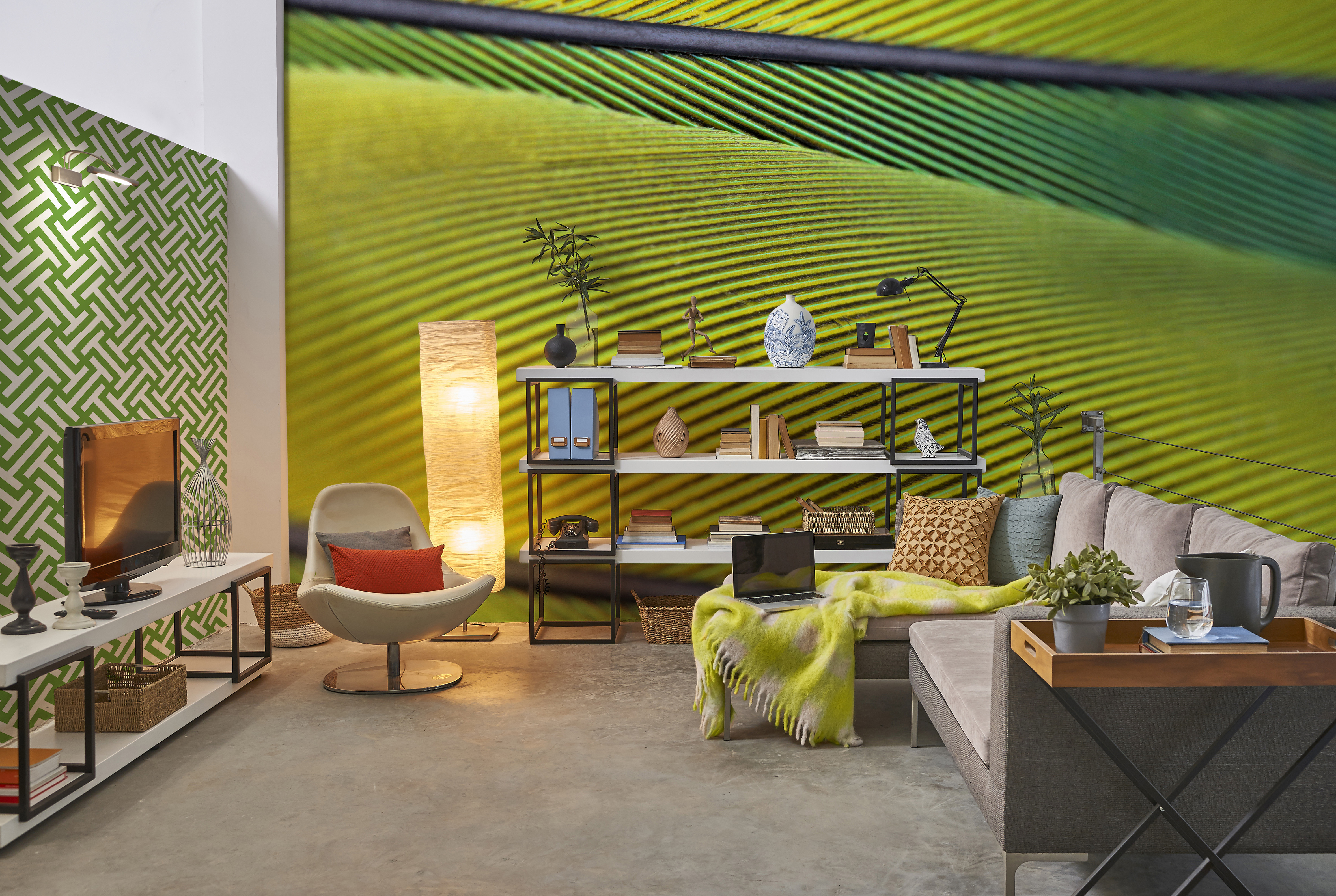 Fields of green • Living room - Eclectic - Textures and patterns - Nature - Wall Murals
