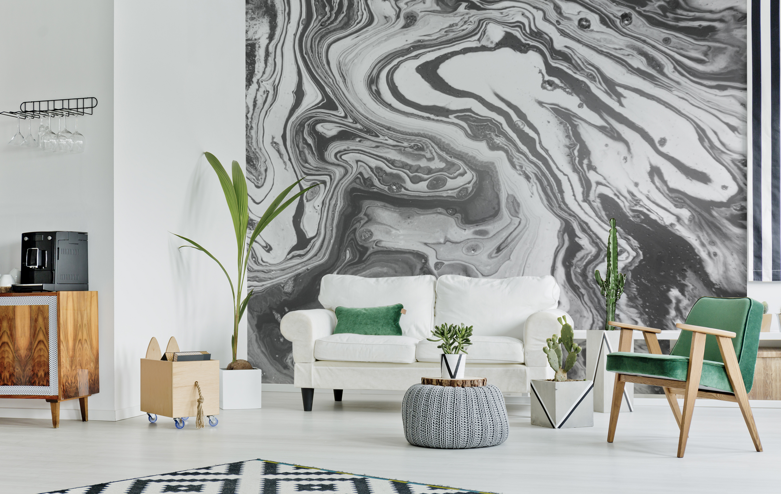 The glamour of greyness • Scandinavian - Living room - Abstraction - Black and white - Wall Murals