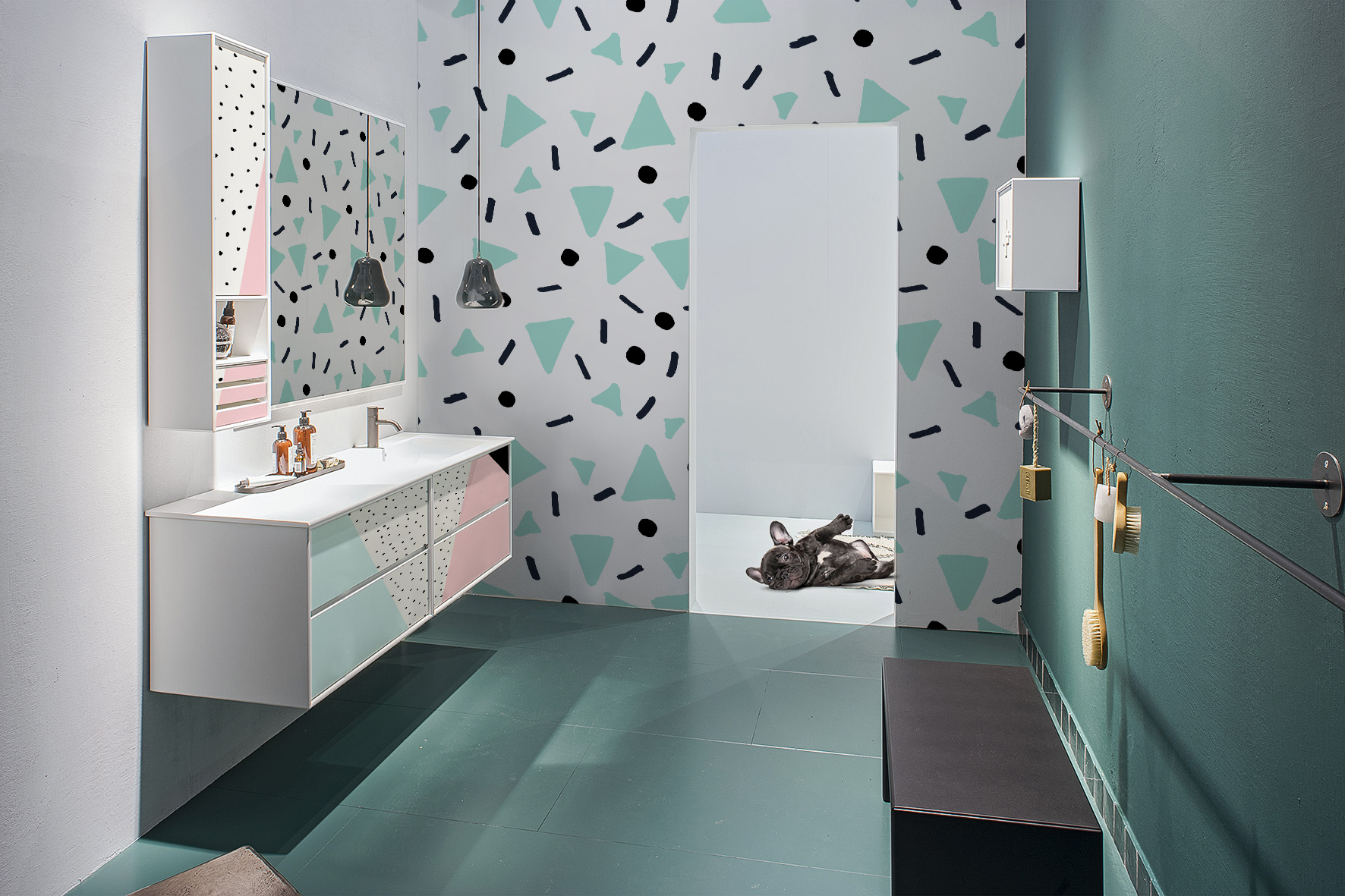 Geometric confetti • Bathroom - Contemporary - Textures and patterns - Wall Murals - Stickers