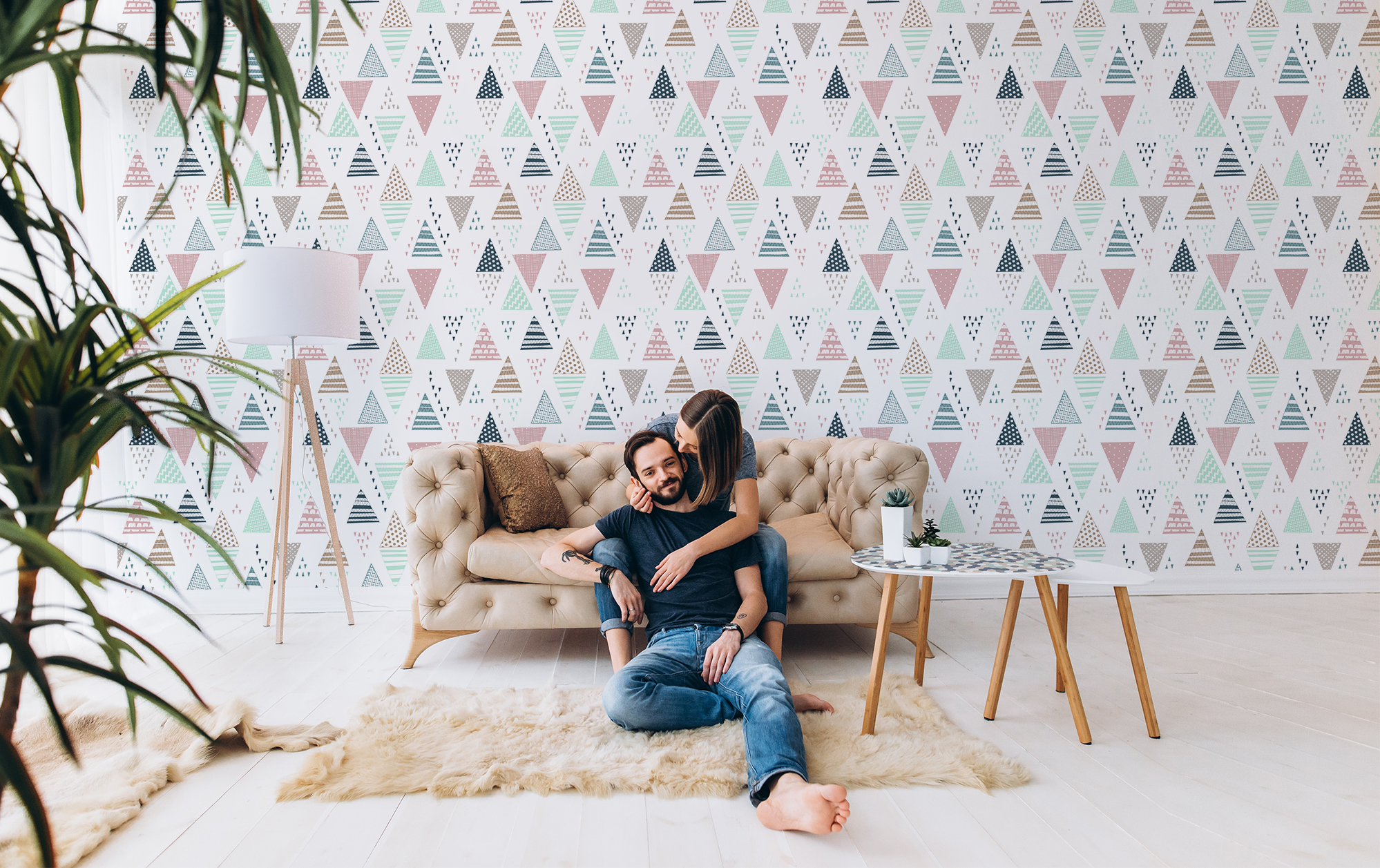 Patterned triangles • Living room - Contemporary - Textures and patterns - Wall Murals - Stickers