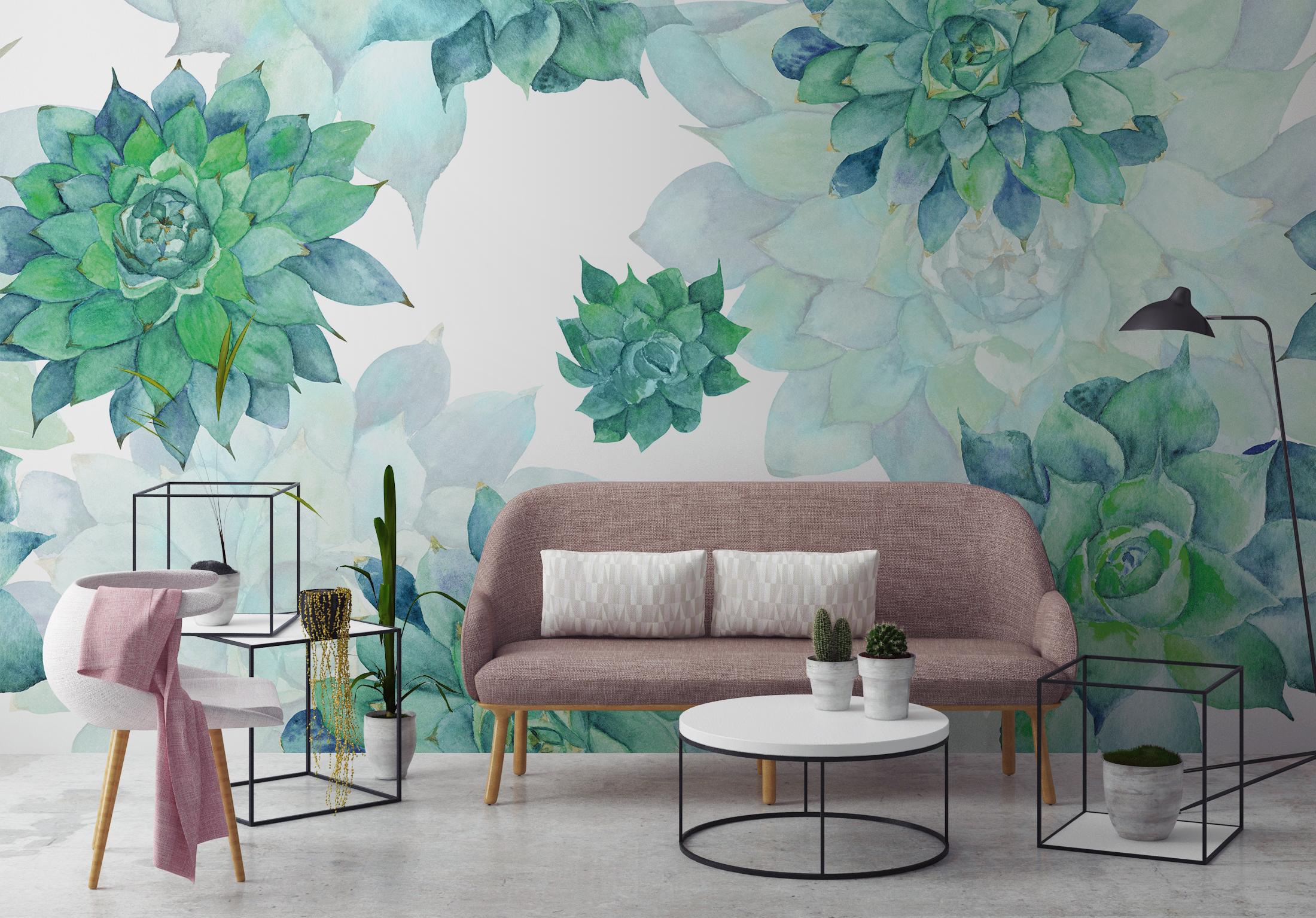 Natural rosettes • Boho - Living room - Nature - Wall Murals