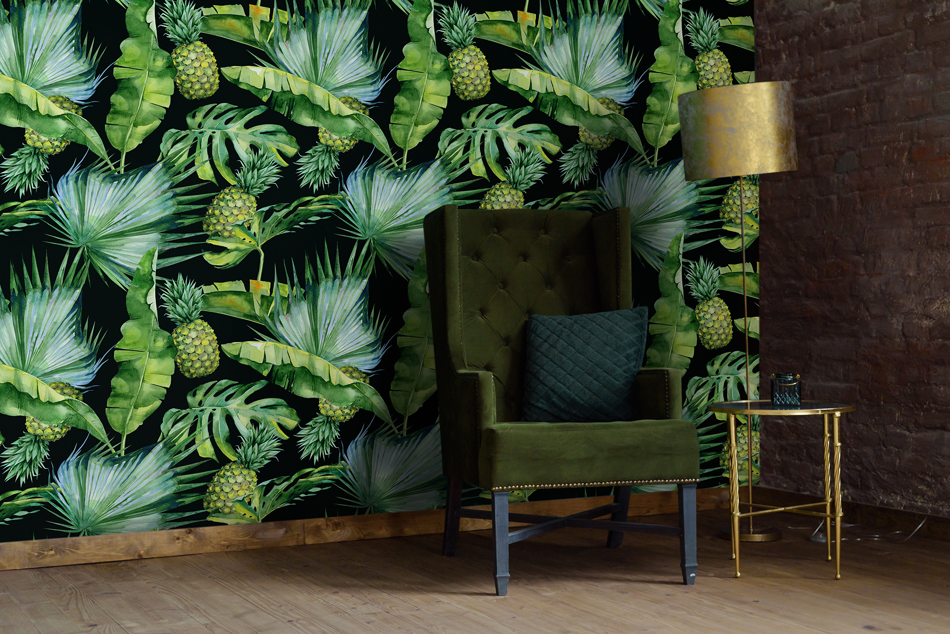 Tropical Interior Colonial Living Room Wall Murals Nature