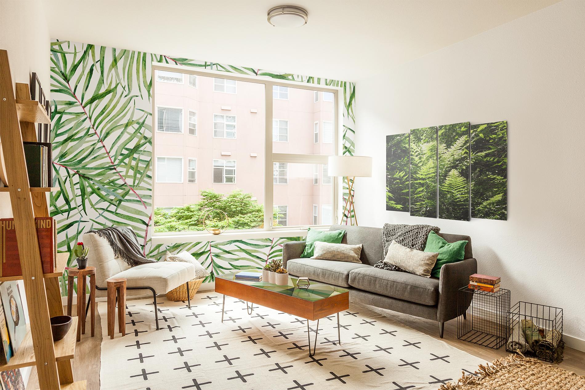 gr nes wohnzimmer wohnzimmer modern fototapeten bilder aufkleber natur pixers. Black Bedroom Furniture Sets. Home Design Ideas