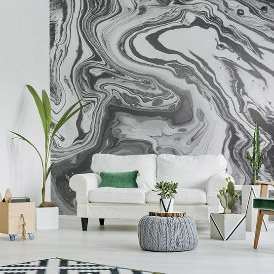 Wall Mural Living Room - Abstraction in gray