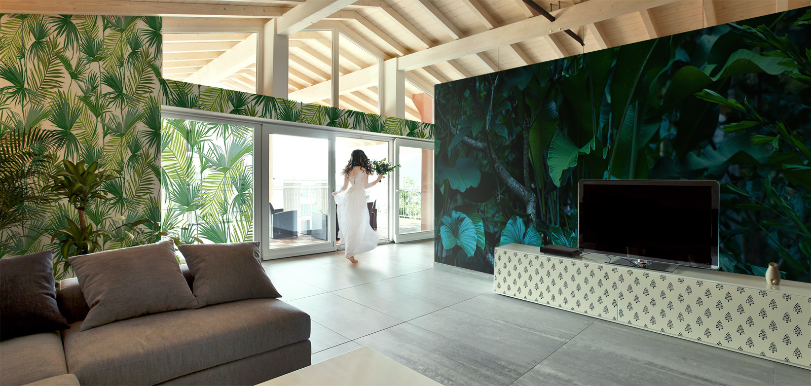 Living room in a tropical forest • Living room - Contemporary - Nature - Wall Murals