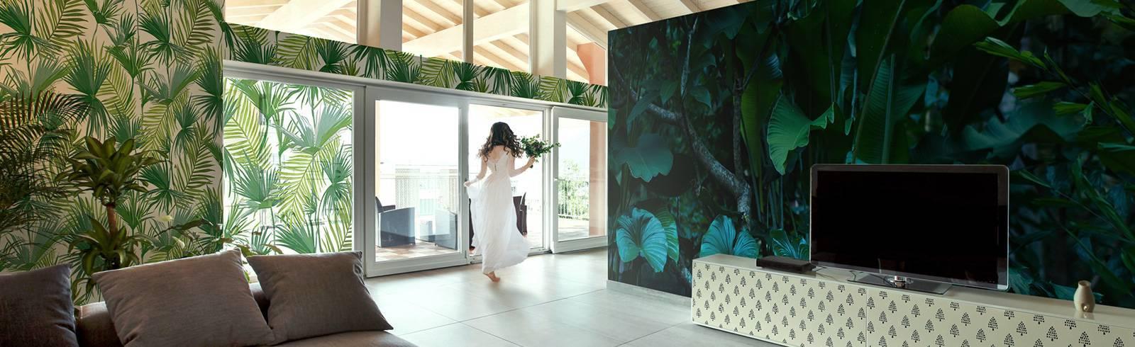 Tapeta, fototapeta i naklejki - Salon w tropikalnym lesie