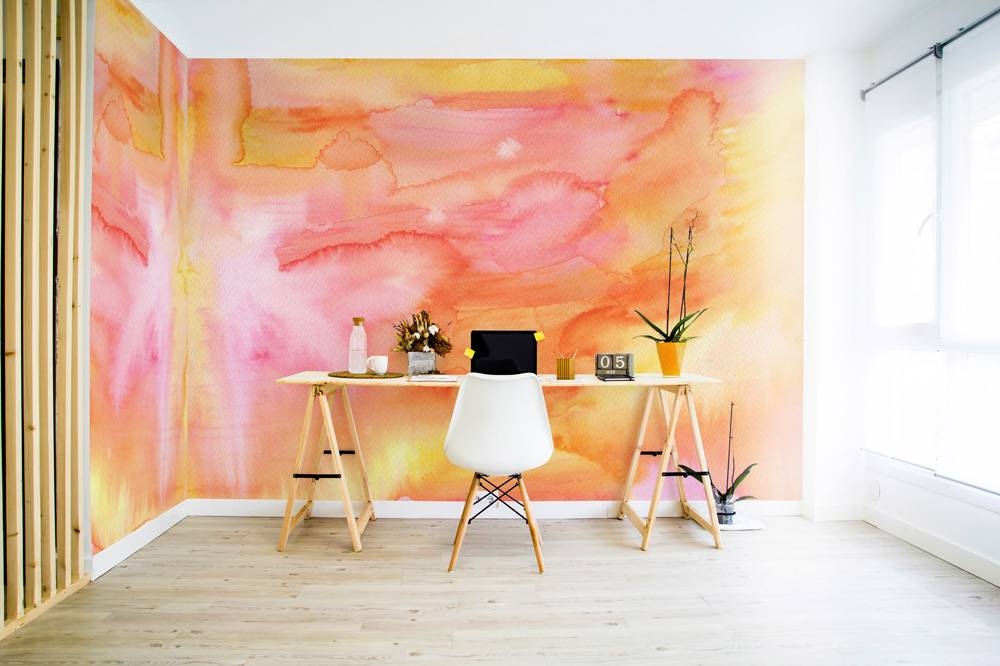 Peach watercolor • Contemporary - Office - Textures and patterns - Nature - Wall Murals