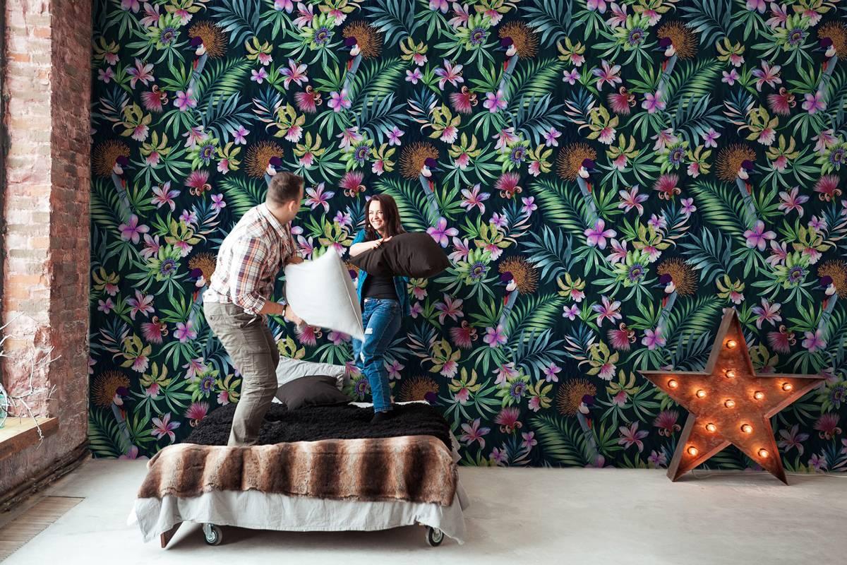 Papel pintado tropical hojas y flores Pixers