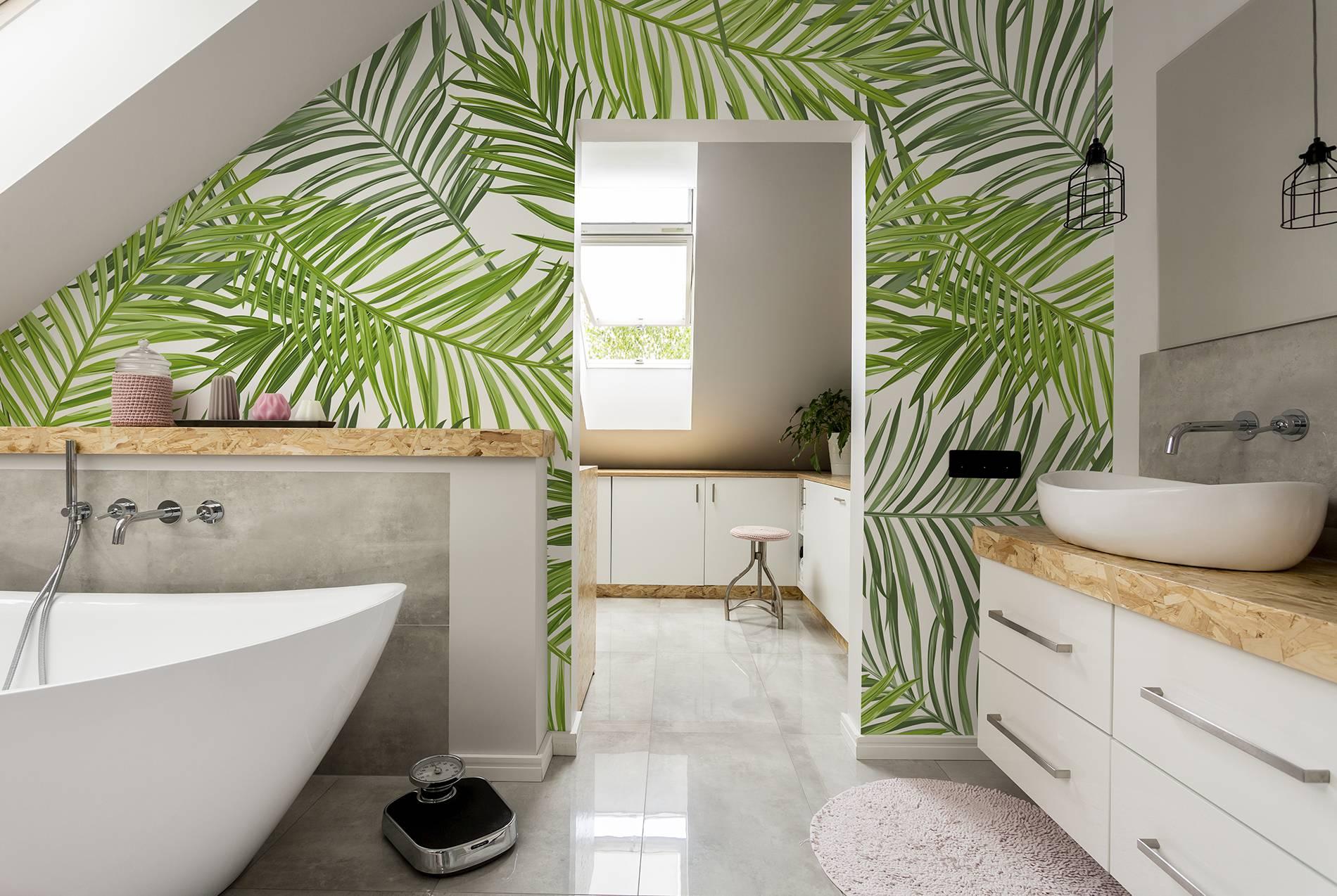 Papel pintado tropical hojas Pixers